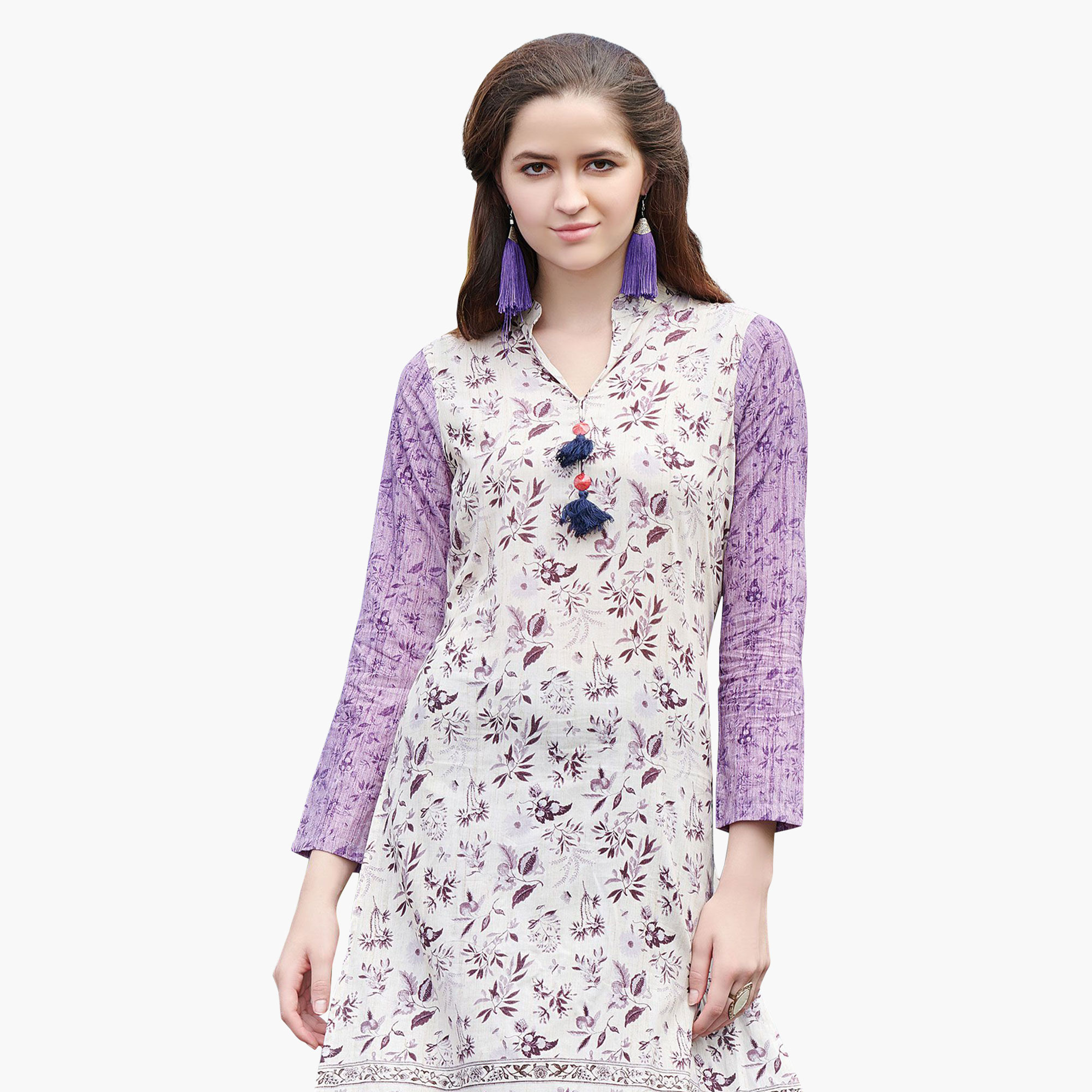 Pleasance White Colored Casual Printed Rayon Kurti