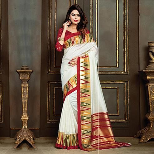 Adorable Cream Festive Wear Bhagalpuri Silk Saree