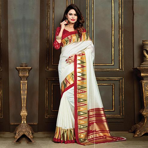 Adorable White Festive Wear Bhagalpuri Silk Saree