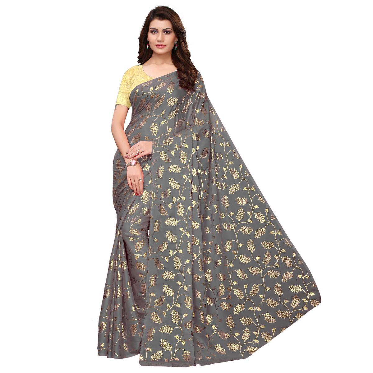 Blooming Grey Colored Party Wear Foil Printed Georgette Saree