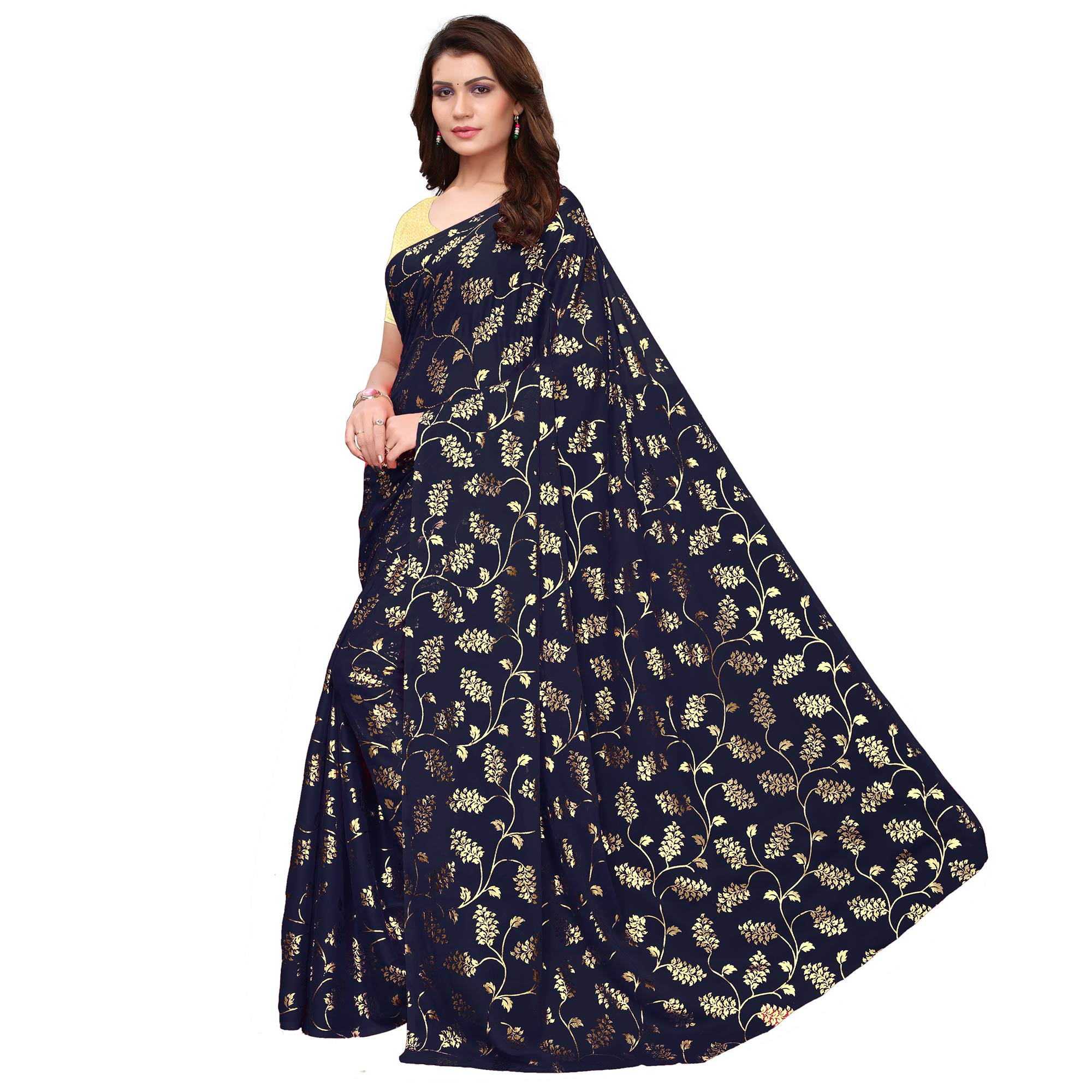 Charming Navy Blue Colored Party Wear Foil Printed Georgette Saree