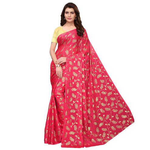 Classy Pink Colored Party Wear Foil Printed Georgette Saree