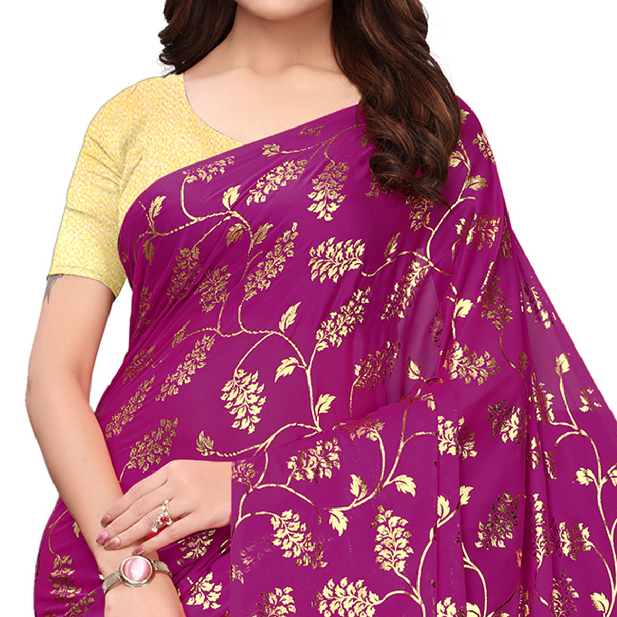 Delightful Purple Colored Party Wear Foil Printed Georgette Saree