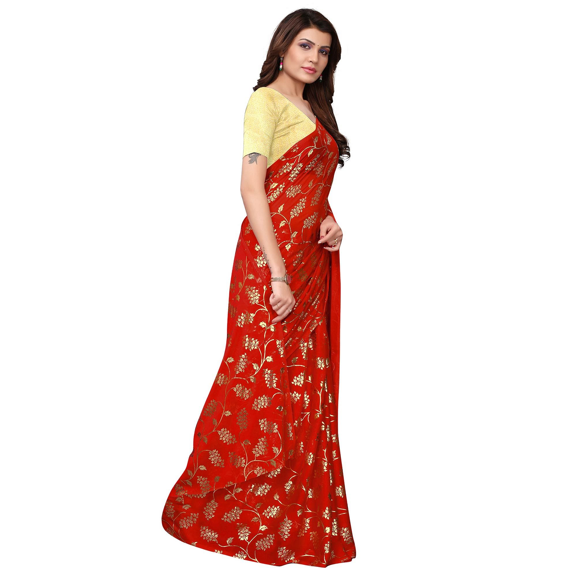 Entrancing Red Colored Party Wear Foil Printed Georgette Saree