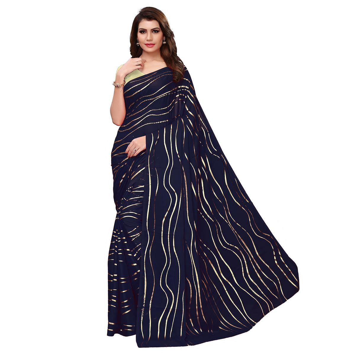 Fantastic Navy Blue Colored Party Wear Foil Printed Georgette Saree