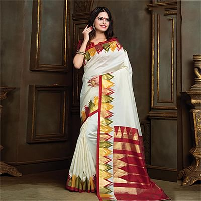 Elegant Cream Festive Wear Bhagalpuri Silk Saree