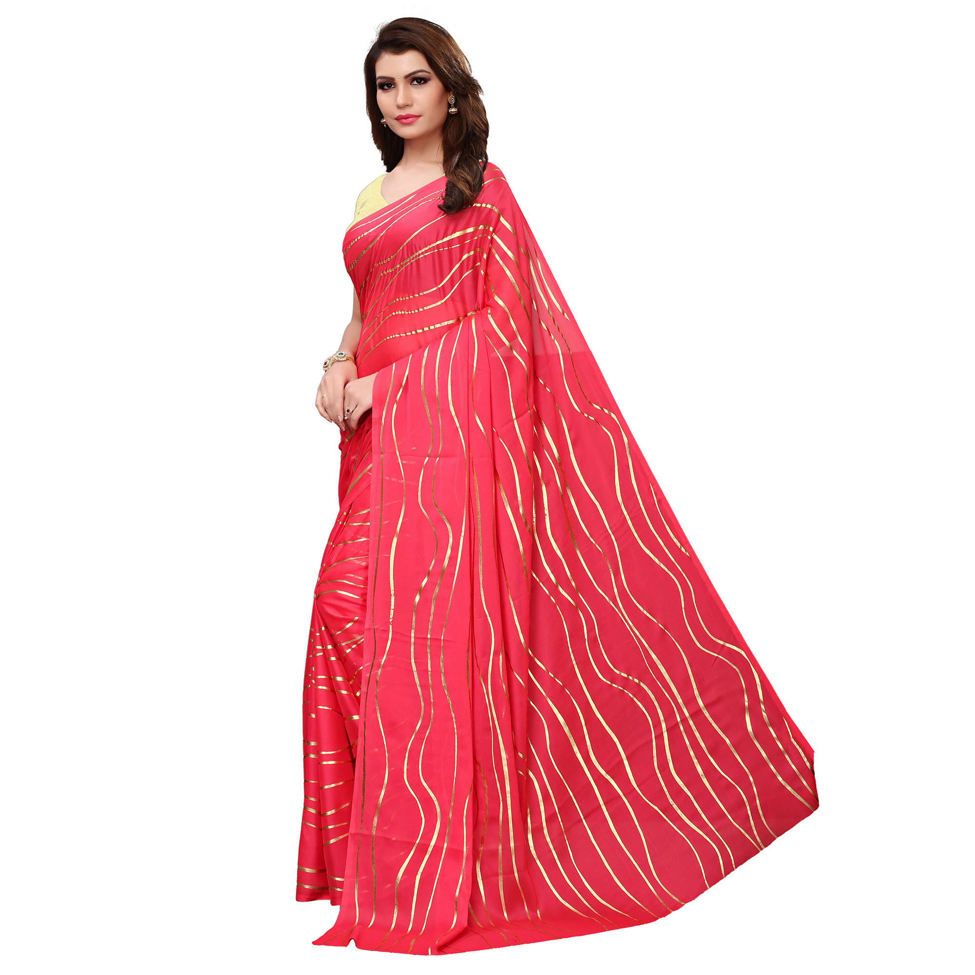Glorious Pink Colored Party Wear Foil Printed Georgette Saree