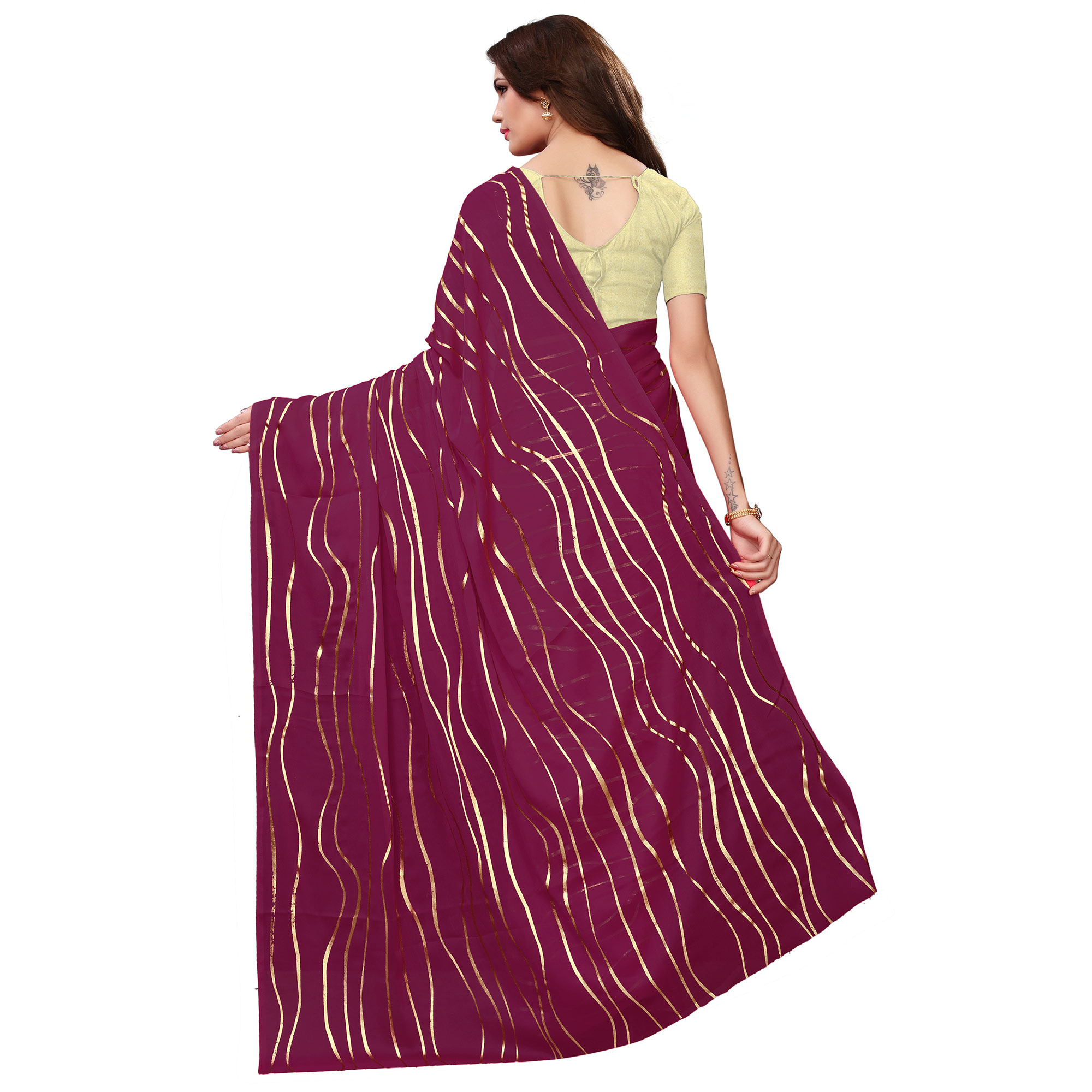 Gorgeous Purple Colored Party Wear Foil Printed Georgette Saree