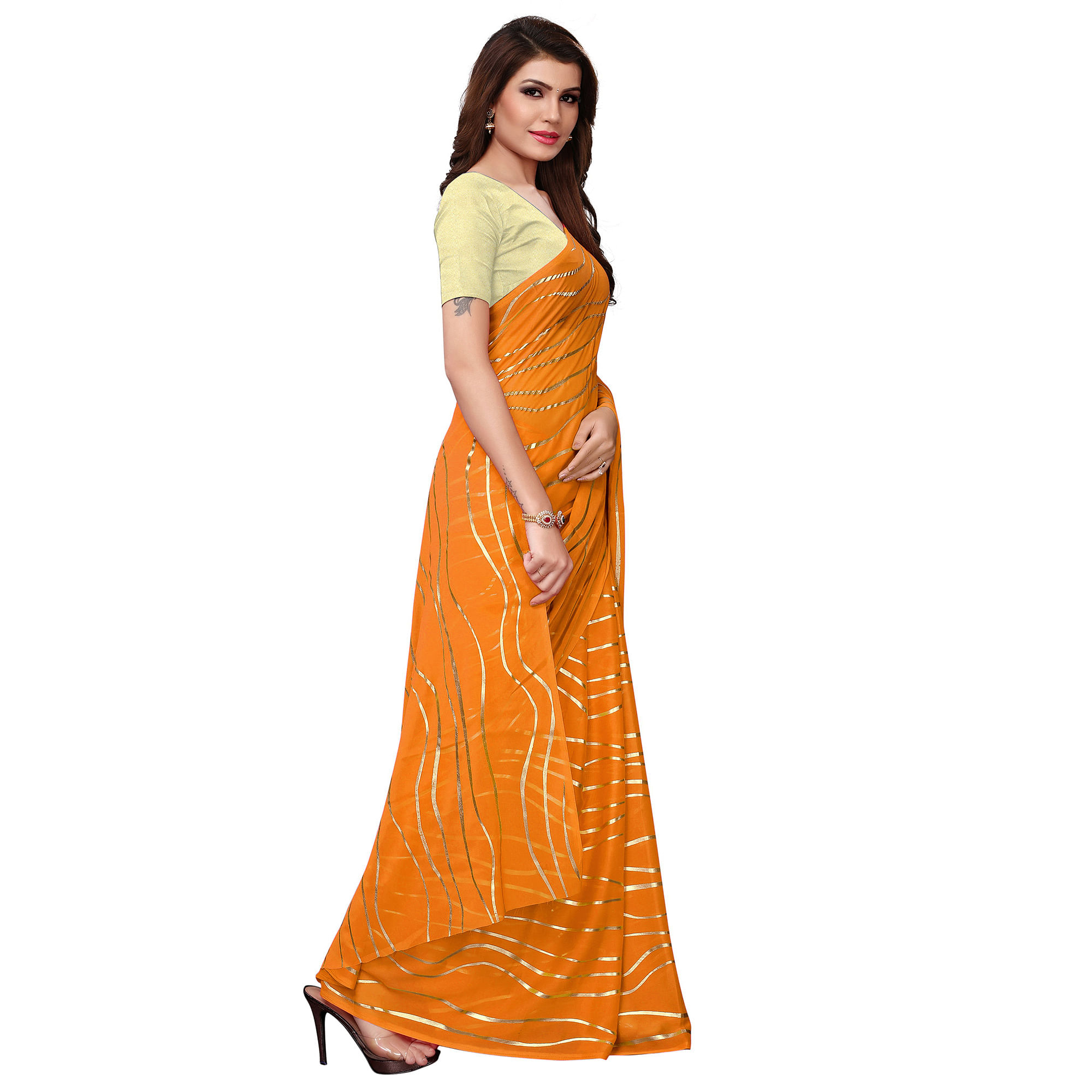 Graceful Yellow Colored Party Wear Foil Printed Georgette Saree