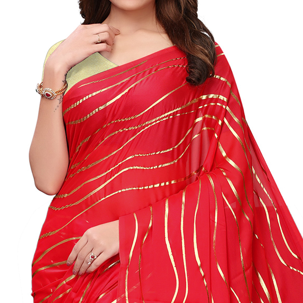 Amazing Red Colored Party Wear Foil Printed Georgette Saree