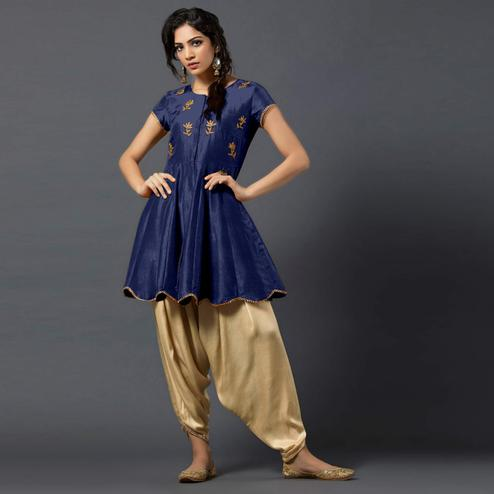 Stunning Blue Colored Partywear Embroidered Tapeta Silk Dhoti Style Suit