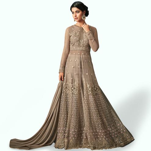 Captivating Light Brown Colored Party Wear Embroidered Netted Lehenga Kameez