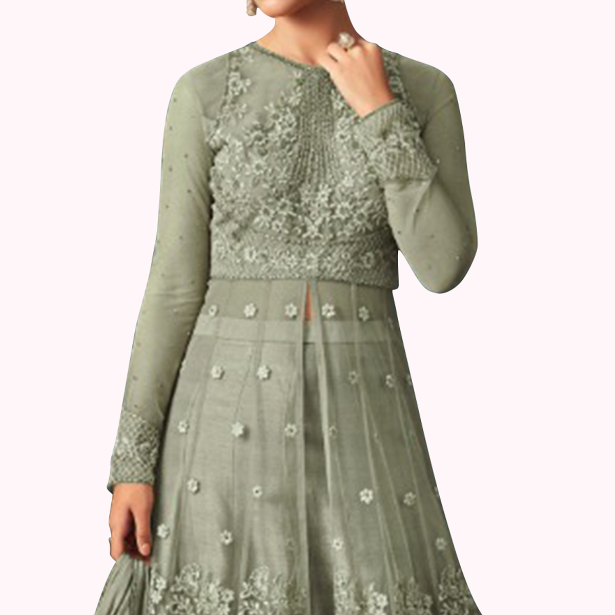 Groovy Pastel Green Colored Party Wear Embroidered Netted Lehenga Kameez