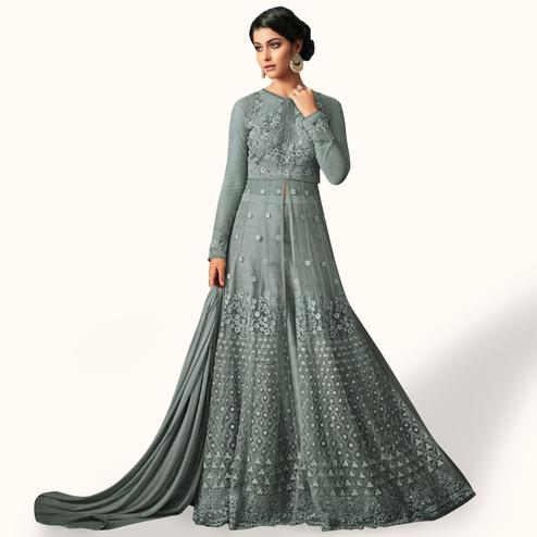 Prominent Light Grey Colored Party Wear Embroidered Netted Lehenga Kameez
