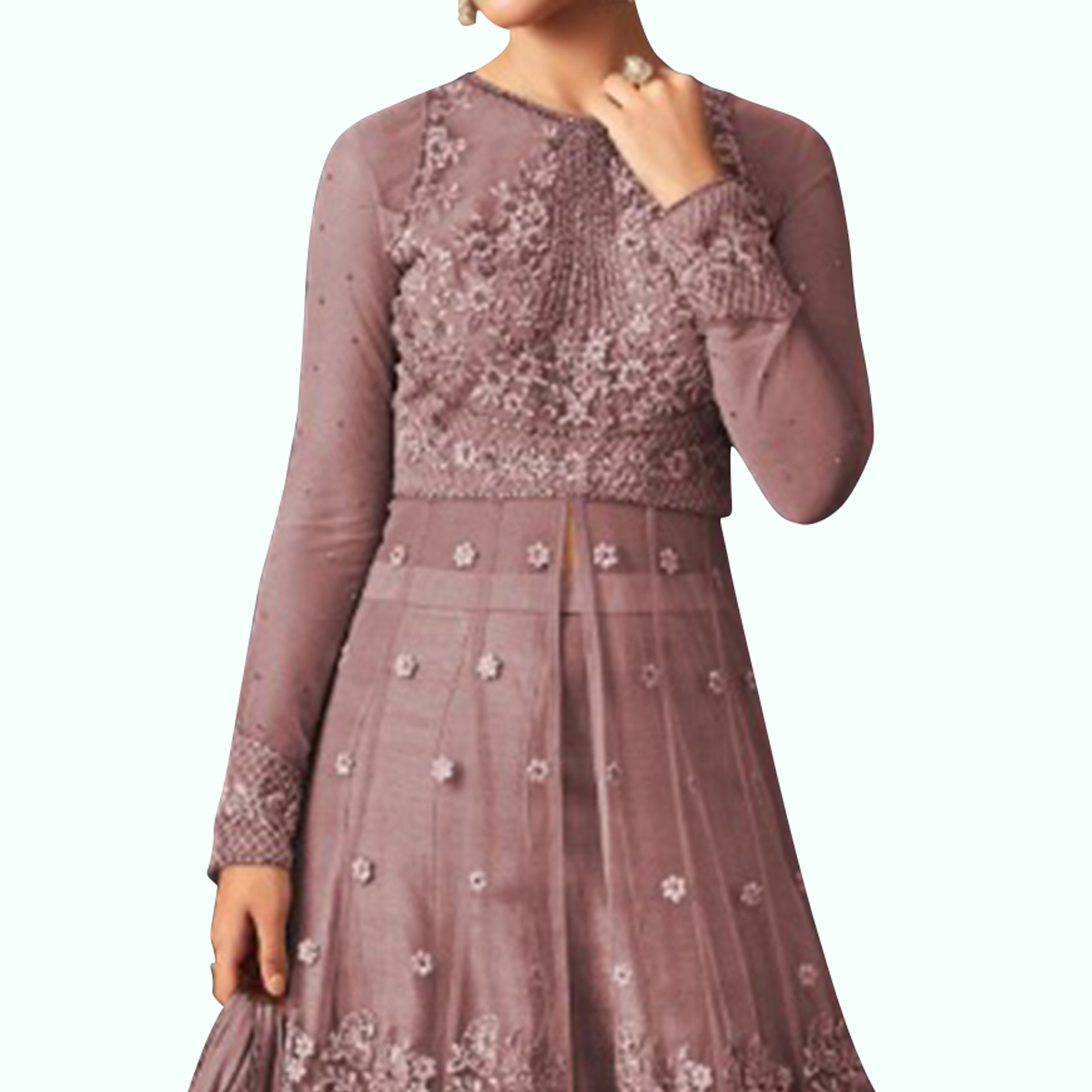 Innovative Dark Mauve Colored Party Wear Embroidered Netted Lehenga Kameez