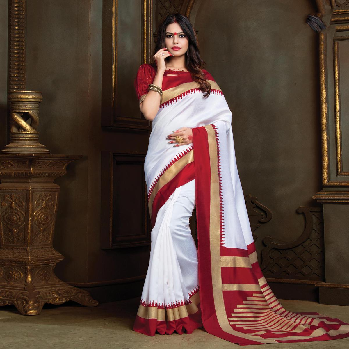 Beautiful White Festive Wear Bhagalpuri Silk Saree