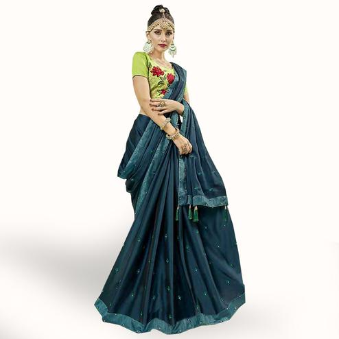 Elegant Teal Blue Colored Party Wear Embroidered Georgette Saree