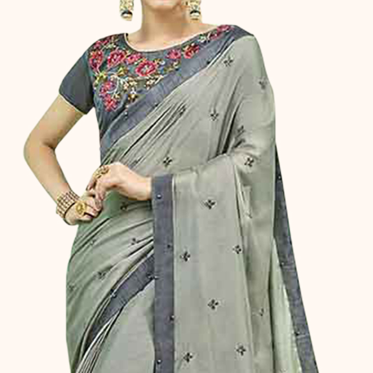 Excellent Grey Colored Party Wear Embroidered Georgette Saree