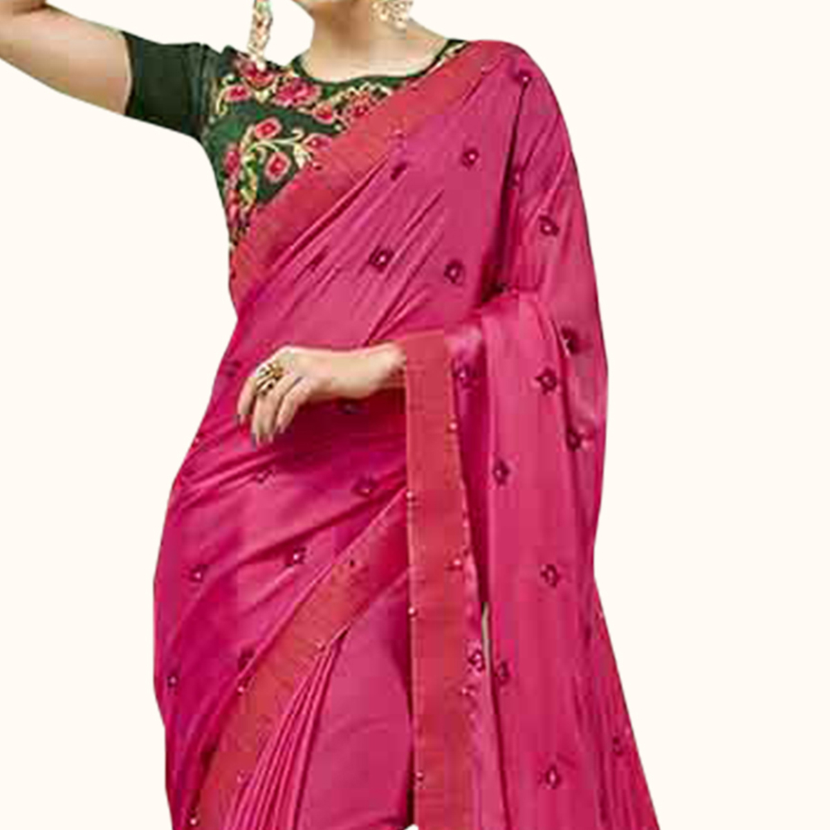 Breathtaking Dark Pink Colored Party Wear Embroidered Georgette Saree