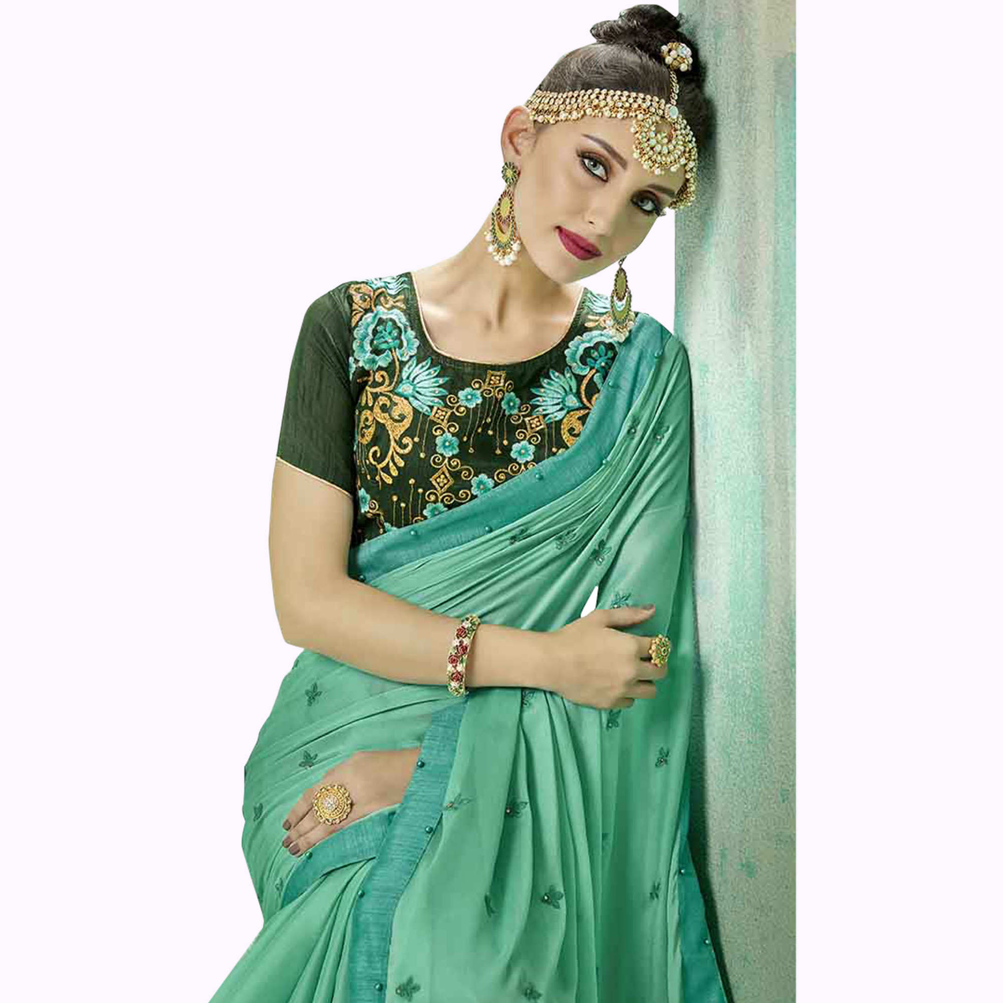 Impressive Aqua Green Colored Party Wear Embroidered Georgette Saree