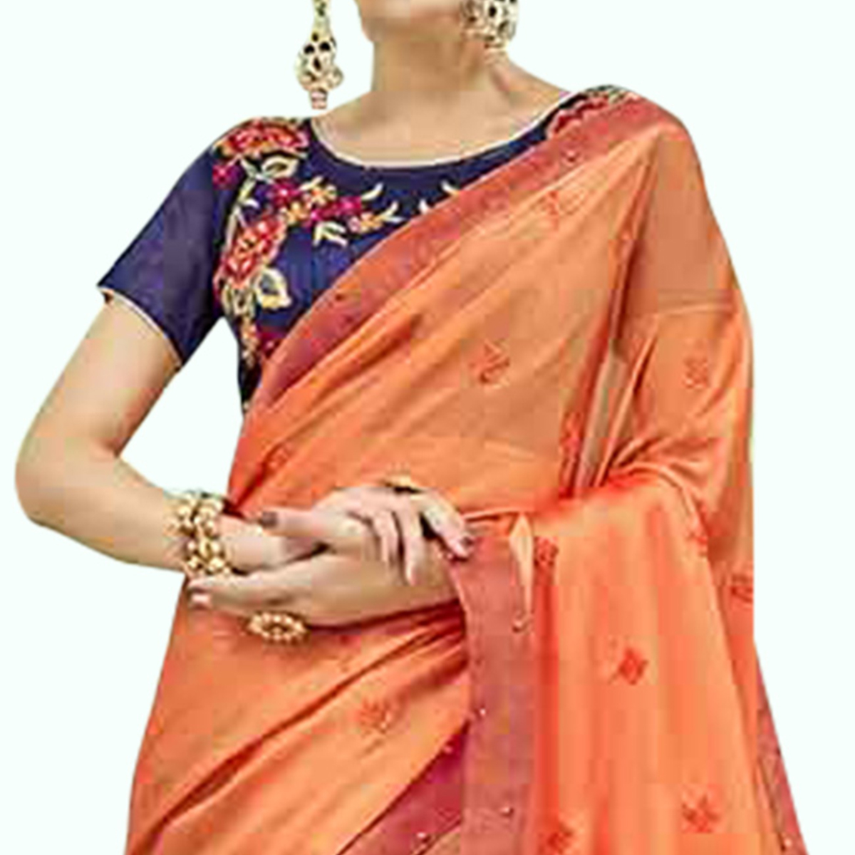 Flamboyant Orange Colored Party Wear Embroidered Georgette Saree