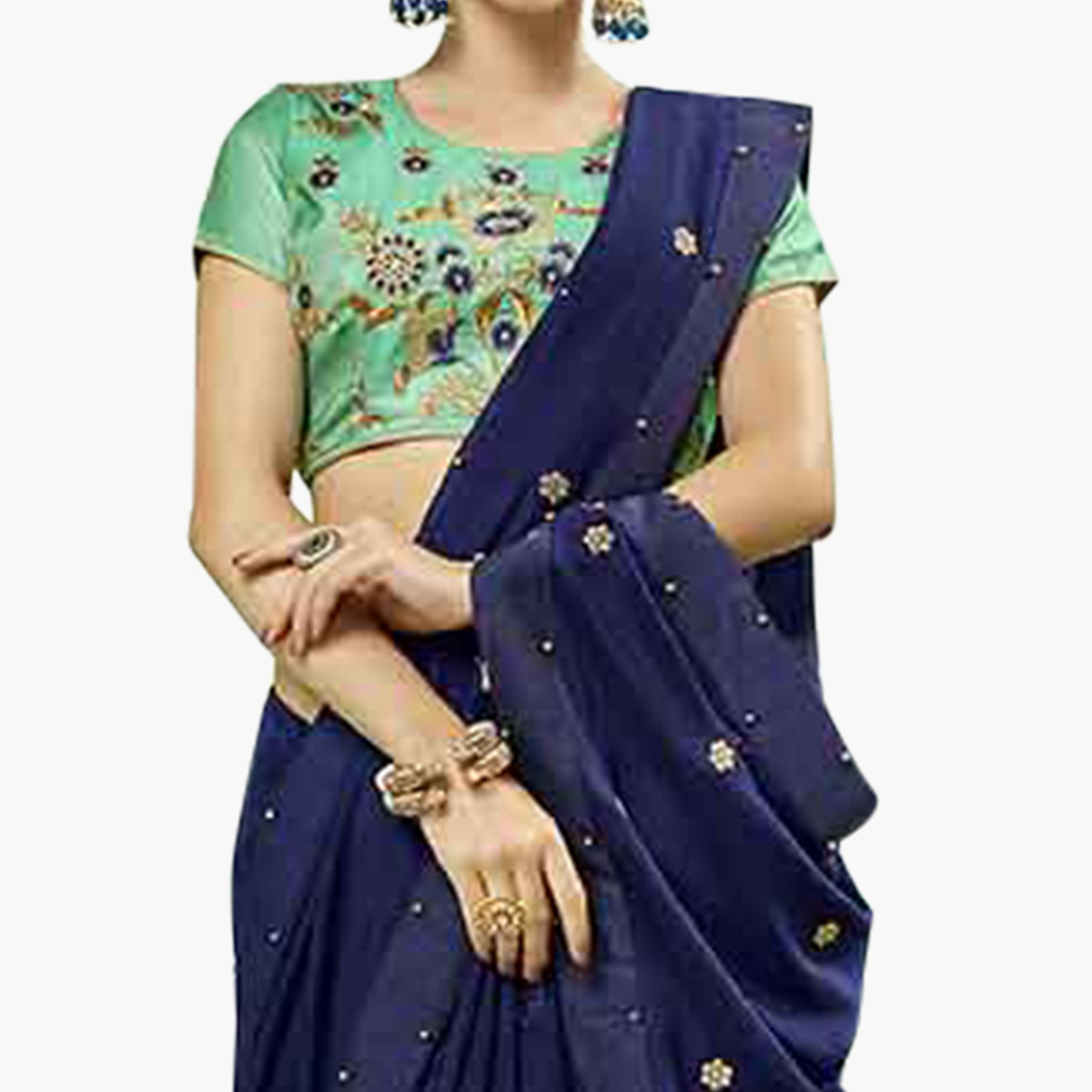 Ethnic Navy Blue Colored Party Wear Embroidered Georgette Saree