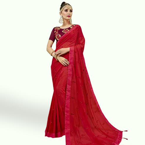 Sensational Red Colored Party Wear Embroidered Georgette Saree