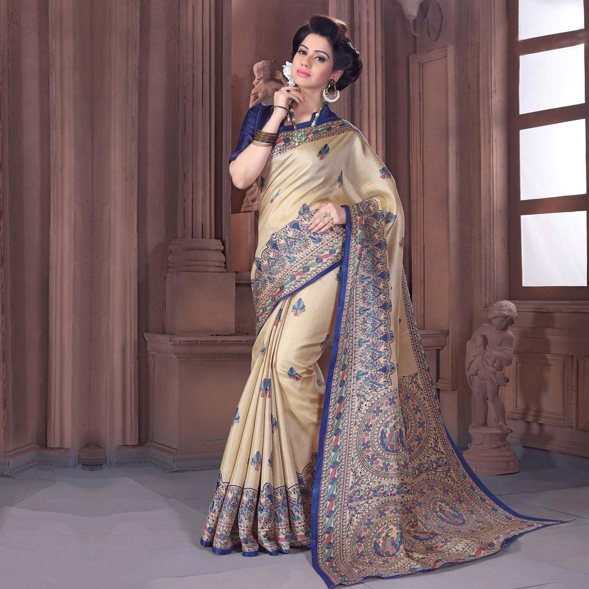 Beige - Navy Blue Printed Bhagalpuri Silk Saree