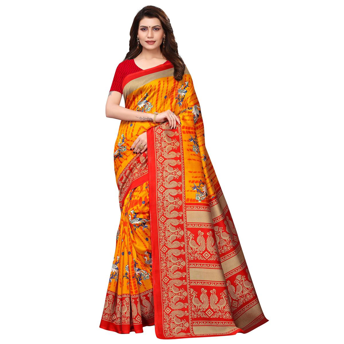 Marvellous Orange Colored Festive Wear Printed Art Silk Saree