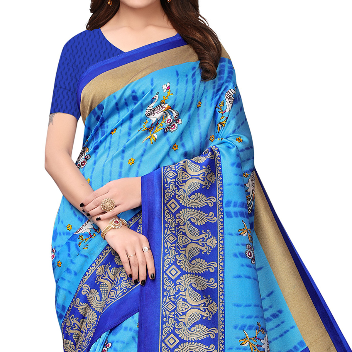 Mesmerising Sky Blue Colored Festive Wear Printed Art Silk Saree