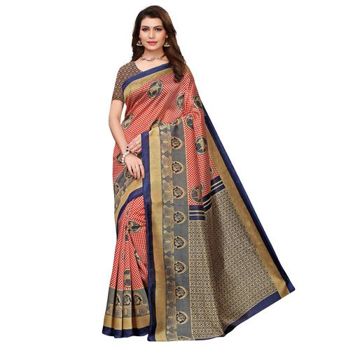 Preferable Red Colored Festive Wear Printed Art Silk Saree