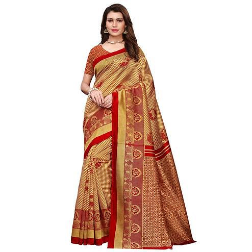 Pretty Golden Colored Festive Wear Printed Art Silk Saree