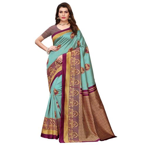 Ravishing Aqua Blue Colored Festive Wear Printed Art Silk Saree