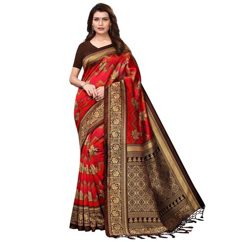 Blissful Red Colored Festive Wear Printed Art Silk Saree With Tassels