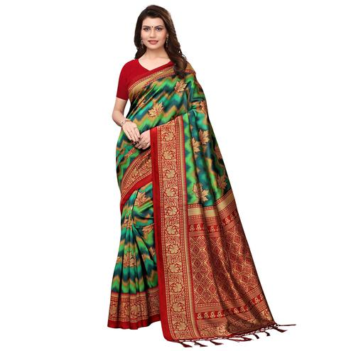 Charming Shaded Green Colored Festive Wear Printed Art Silk Saree With Tassels