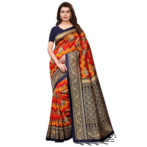Classy Yellow-Orange Colored Festive Wear Printed Art Silk Saree With Tassels