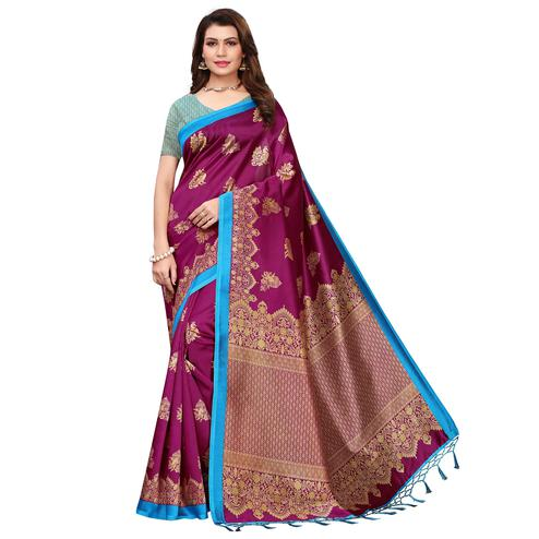 Entrancing Magenta Colored Festive Wear Printed Art Silk Saree With Tassels