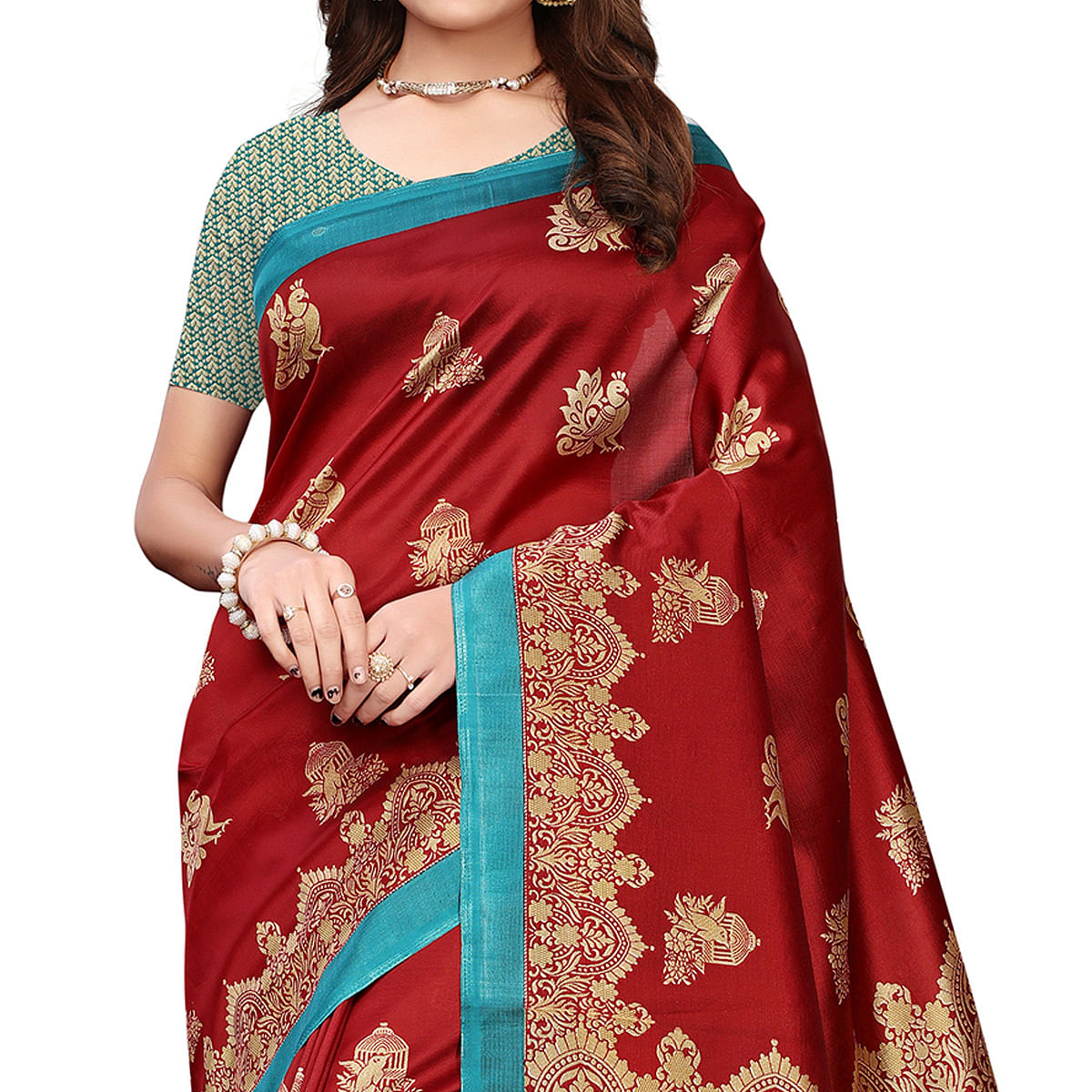 Exotic Maroon Colored Festive Wear Printed Art Silk Saree With Tassels
