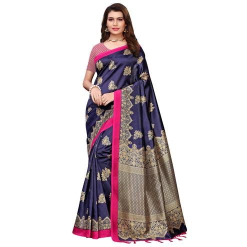 Eye-catching Navy Blue Colored Festive Wear Printed Art Silk Saree With Tassels