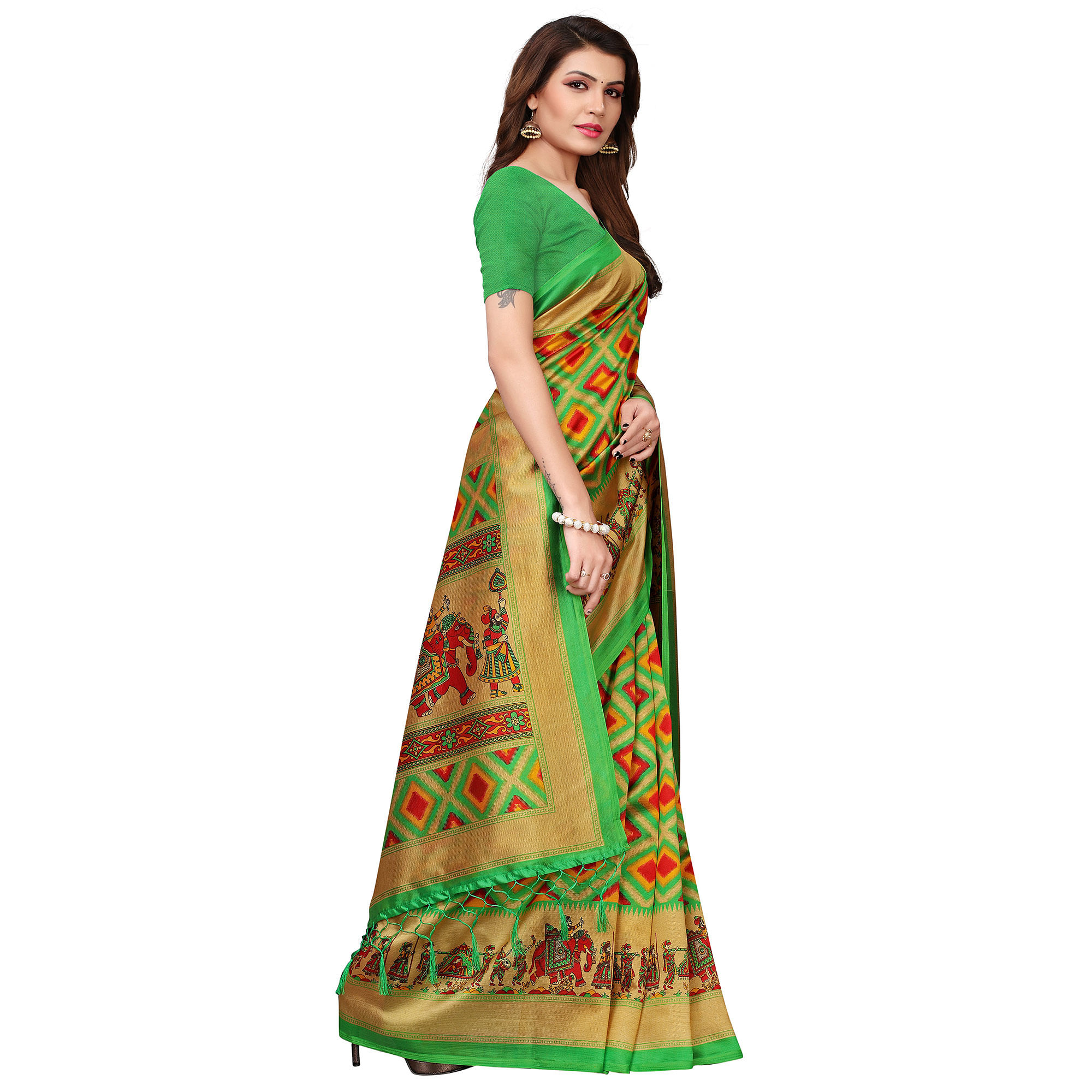 Glorious Green Colored Festive Wear Printed Art Silk Saree With Tassels