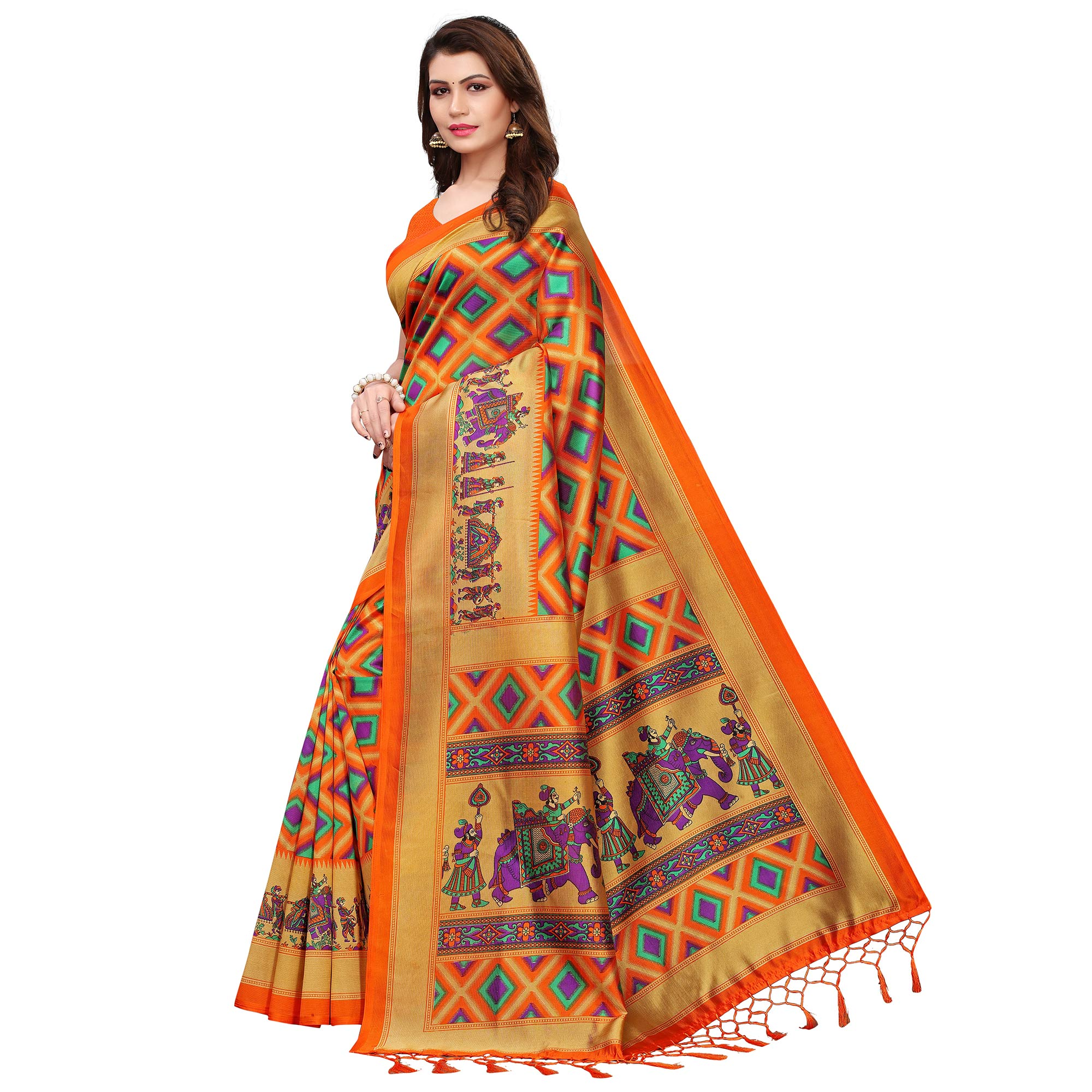 Gorgeous Orange Colored Festive Wear Printed Art Silk Saree With Tassels