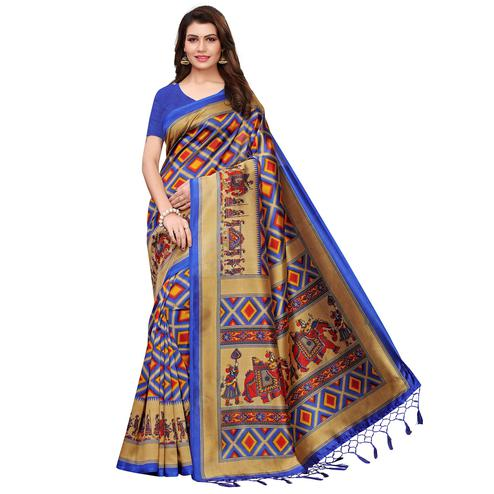 Graceful Blue Colored Festive Wear Printed Art Silk Saree With Tassels