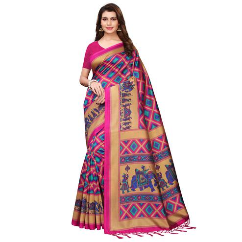 Ideal Pink Colored Festive Wear Printed Art Silk Saree With Tassels