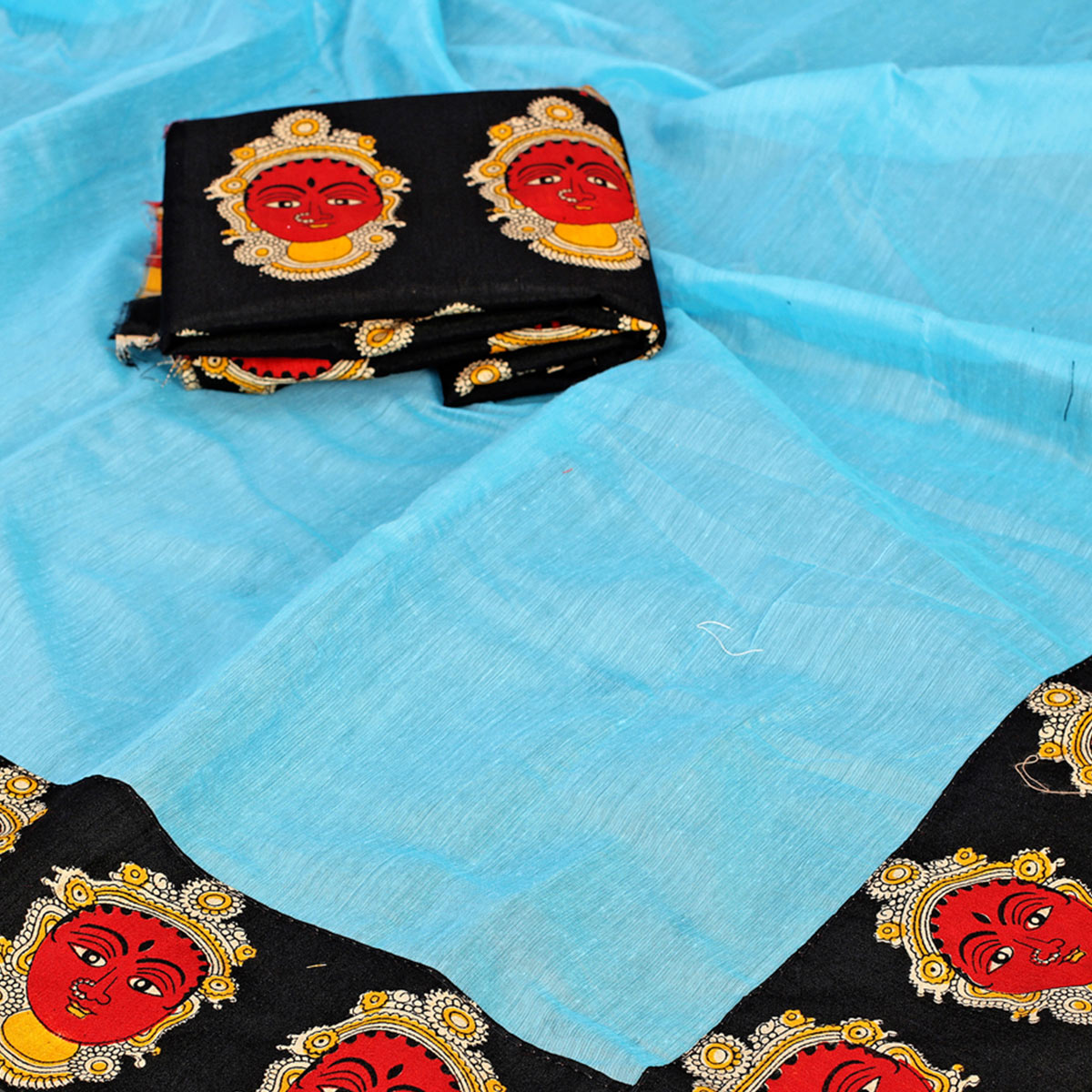 Engrossing Sky Blue Colored Casual Wear Chanderi Silk Saree