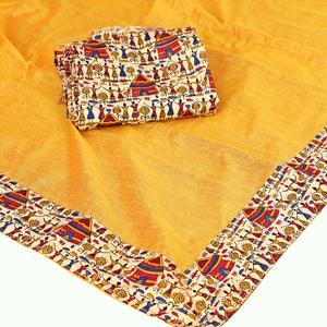 Fantastic Yellow Colored Casual Wear Chanderi Silk Saree