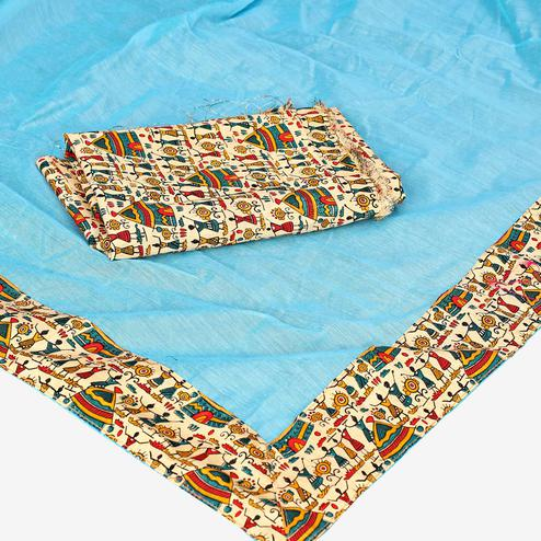 Gorgeous Sky Blue Colored Casual Wear Chanderi Silk Saree