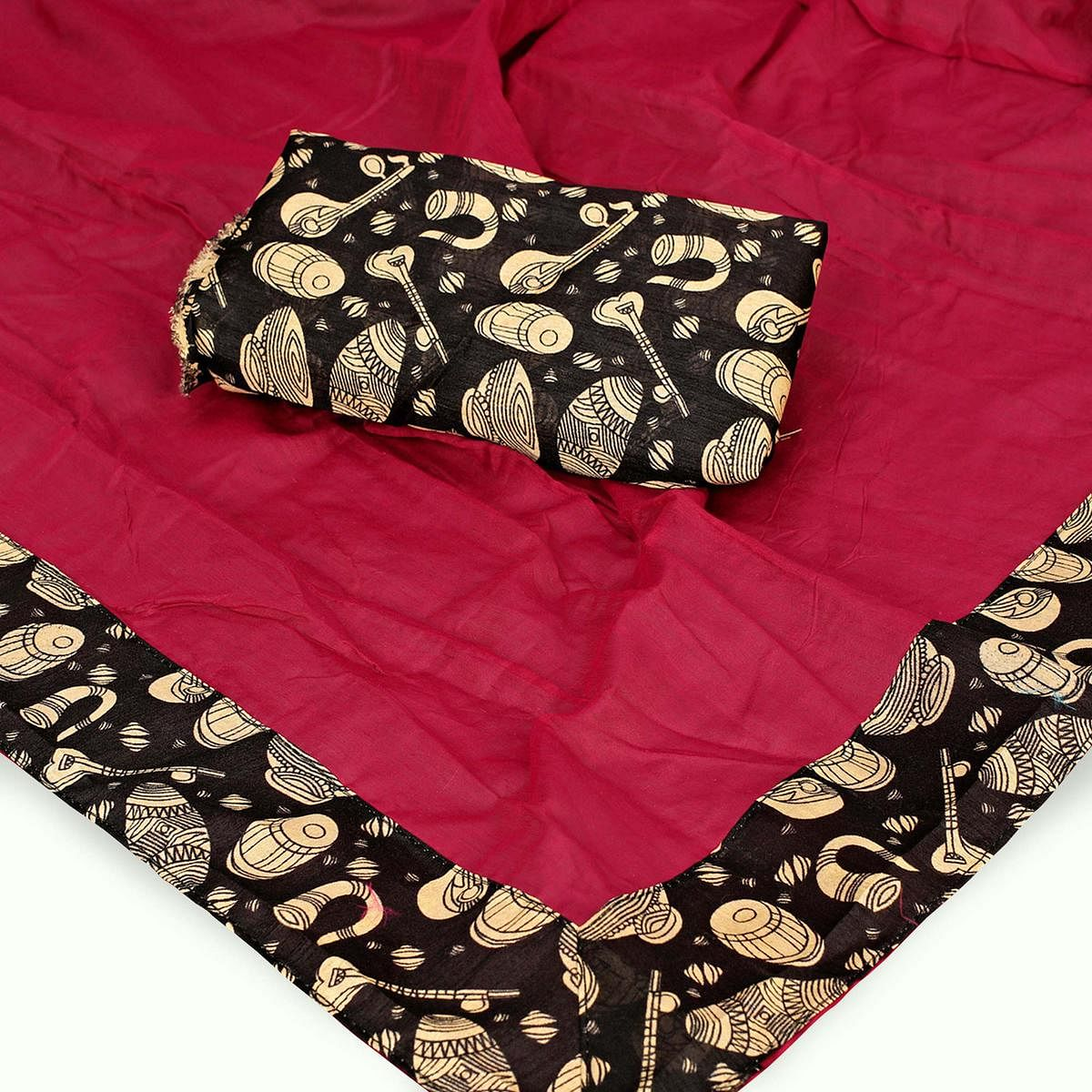 Graceful Dark Pink Colored Casual Wear Chanderi Silk Saree