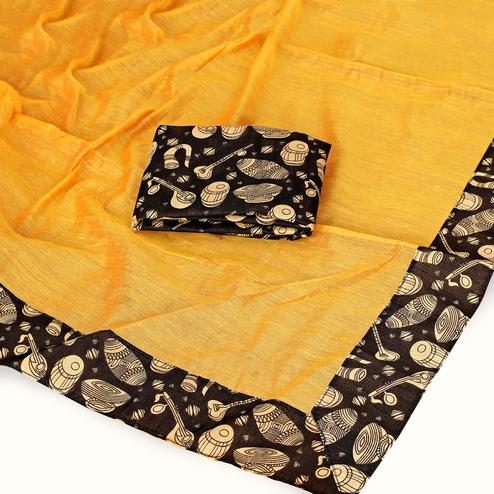 Gleaming Yellow Colored Casual Wear Chanderi Silk Saree
