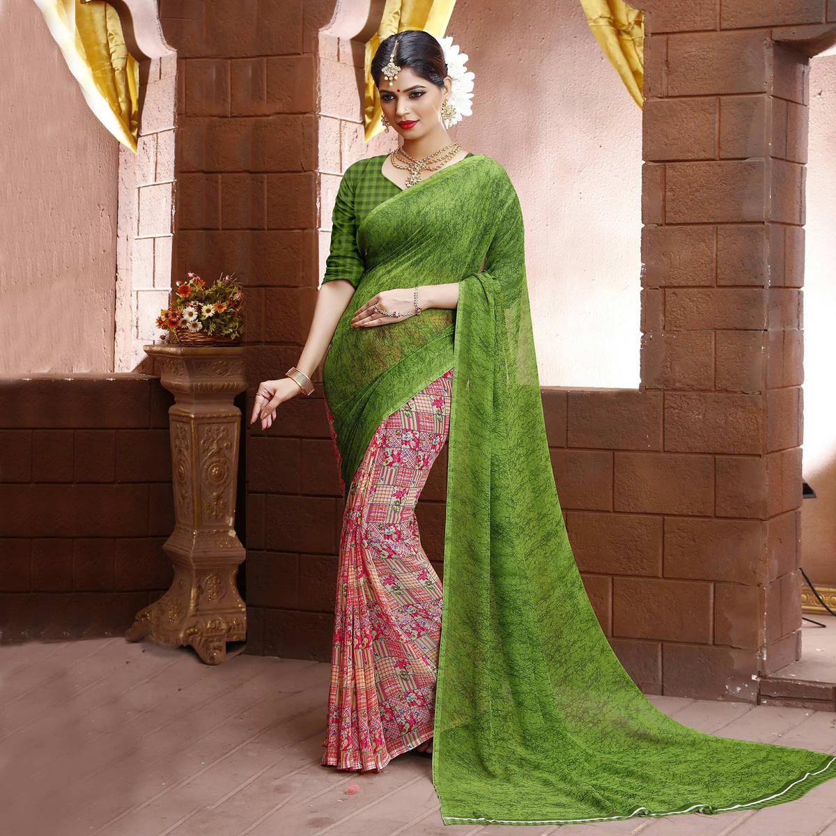 Pink - Green Half & Half Saree