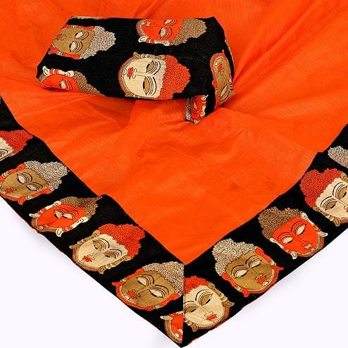 Exceptional Orange Colored Casual Wear Chanderi Silk Saree